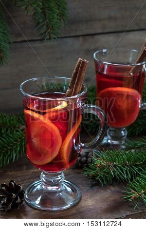 Two Glasses Cup Of Christmas Hot Mulled Wine