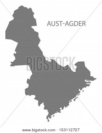 Aust-Agder Norway Map grey illustration high res