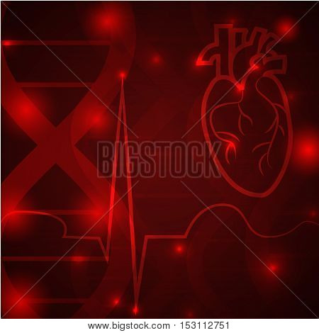 Heart pulse logo - medical wallpaper, vector illustration.Heart logo and pulse beat cardiogram logo on red brown gene chain dna pattern.Medical wallpaper for medical site, cardiology clinic