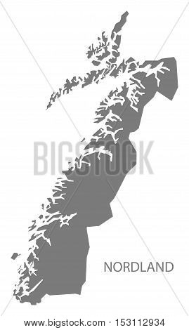Nordland Norway Map grey illustration high res