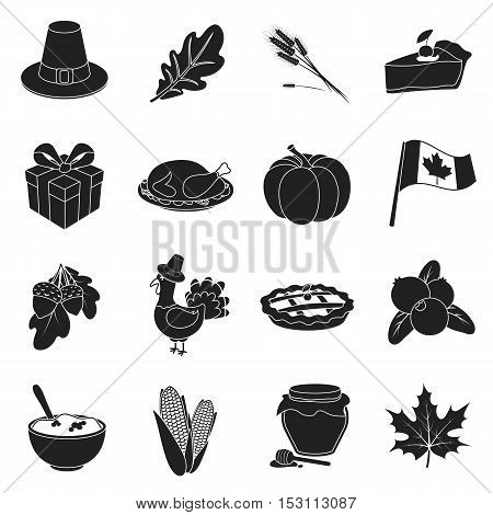 Canadian Thanksgiving Day set icons in black style. Big collection canadian Thanksgiving Day vector symbol stock