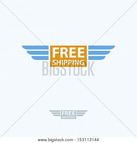 Free Shipping Vector Logo. Delivery Box With Wings Icon And Lettering Isolated.