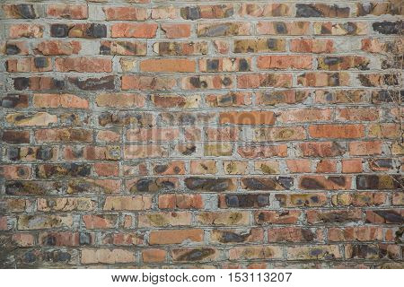 Background of old orange brick wall texture