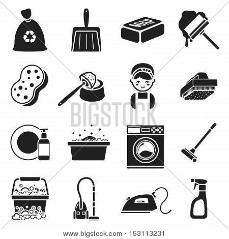Cleaning set icons in black style. Big collection cleaning vector symbol stock