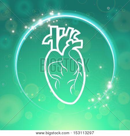 Heart logo in sparkling circle medical wallpaper, vector illustration.Human Heart logo on green blur pattern. Medical wallpaper for medical site, cardiology clinic