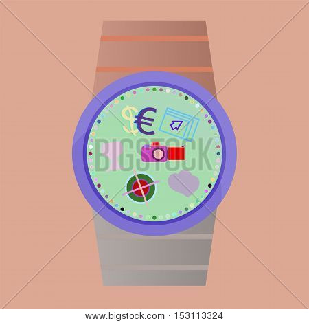 Popular Smart Watch Icons with business sign, business concept