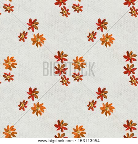 Seamless pattern with orange hand painted flowers. Floral watercolor background.