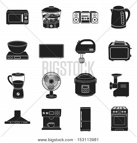 Household appliances set icons in black style. Big collection household appliances vector symbol stock