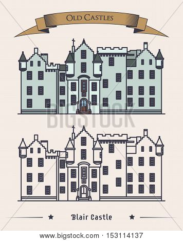 Scotland Blair castle vintage or retro architecture exterior. Construction or structure with citadel, mansion for duke. Perfectly fit for old landmark or heraldic monument, historical britain theme
