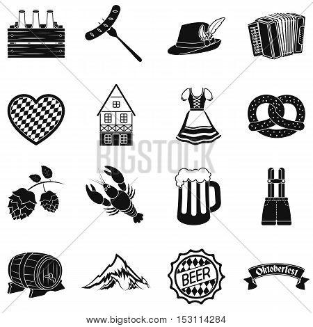 Oktoberfest set icons in black style. Big collection Oktoberfest vector symbol stock