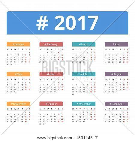 2017 Calendar, week starts on Monday, vector eps10 illustration