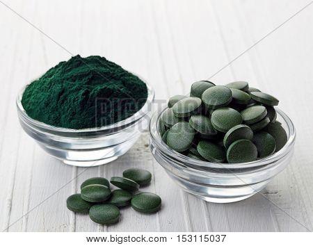 Spirulina Algae Powder And Tablets