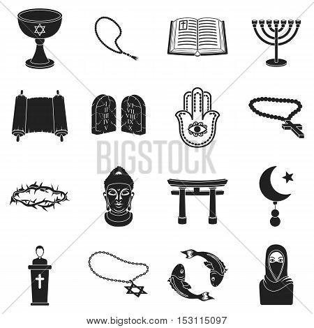 Religion set icons in black style. Big collection religion vector symbol stock