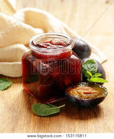 Homemade organic jam of plum. Healthy natural food