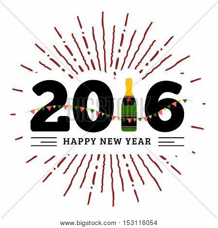 Congratulations to the happy new 2016 year with a bottle of champagne, flags. Vector flat illustration with sunburst