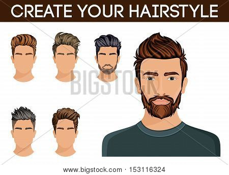 Create change of hairstyle choices. Men hair style symbol hipster beard mustache stylish modern. Vector illustration.