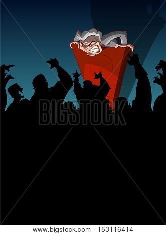 Cartoon vector illustration of a far right nationalist politician giving a speach from a podium spreading hate and propaganda