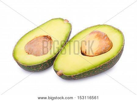 slice avocado isolated on the white background