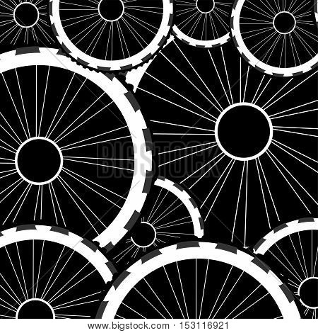 Road And Mountain Bike Wheels And Tires Pattern Isolated On White