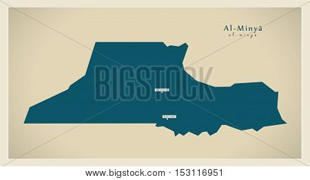 Modern Map - Al Minya  EG vector high res