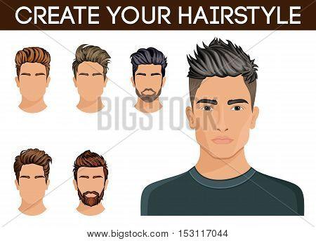 Create change hairstyles. Men hair style symbol hipster beard mustache stylish modern. Vector illustration.