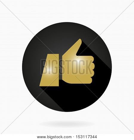 Fine vector icon with golden thumb up in circle. Flat design with long shadow