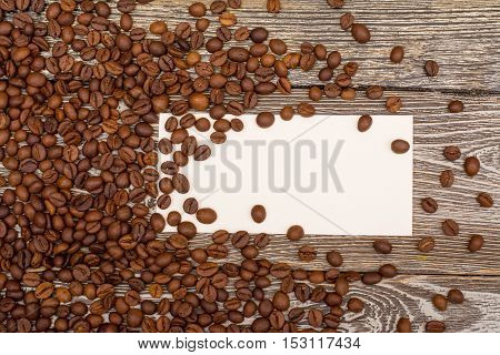 Coffee Beans, Blank For Text On Wooden Background