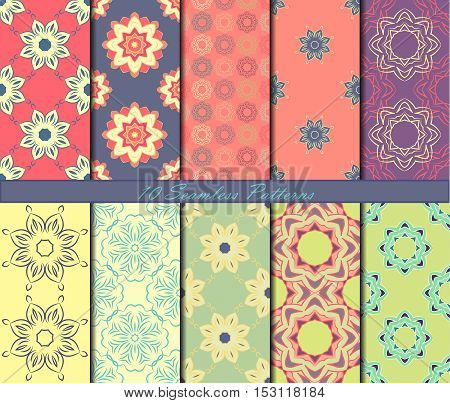 Set of ten seamless pattern with mandalas in beautiful colors. Vector background