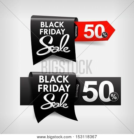 Collection of black friday web tag banner promotion sale discount style vector illustration eps10