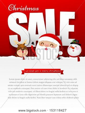 Merry christmas sale text with santa claus vector illustration eps10
