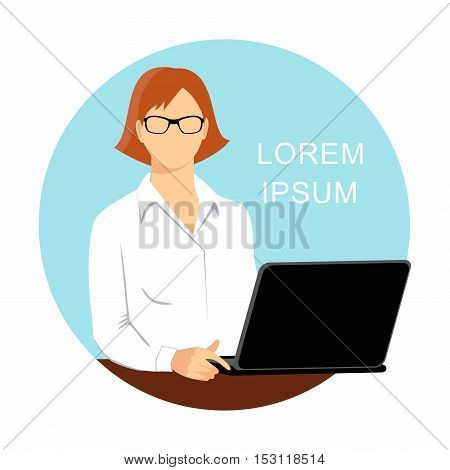 business woman with glasses working on laptop isolated on white background