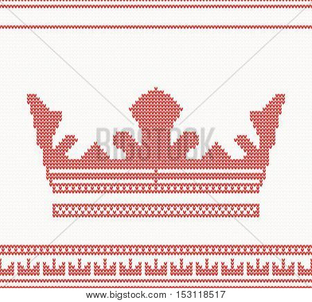Knitted Crown Pattern in Red Color.
