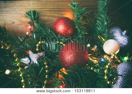 Christmas Red Toy , Christmas Card, Christmas Toys And Walnuts, A Festive Mood
