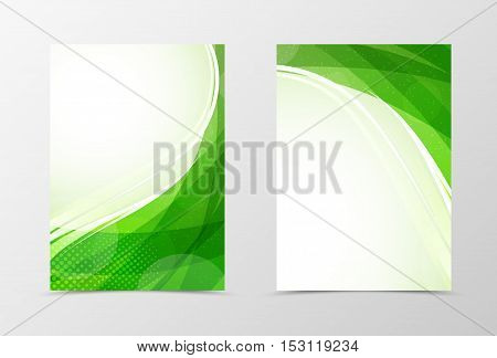Front and back wave flyer template design. Abstract template with green lines and halftone effect in smooth dynamic style. Vector illustration