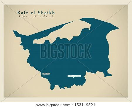 Modern Map - Kafr-el-Sheikh EG vector high res