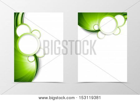 Front and back dynamic wave flyer template design. Abstract template with green lines and white bubbles in futuristic smooth style. Vector illustration
