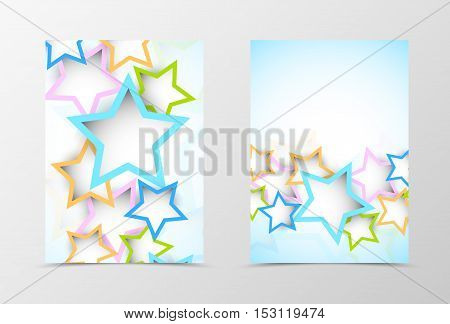 Front and back dynamic geometric flyer template design. Abstract template with colorful stars in digital style. Vector illustration