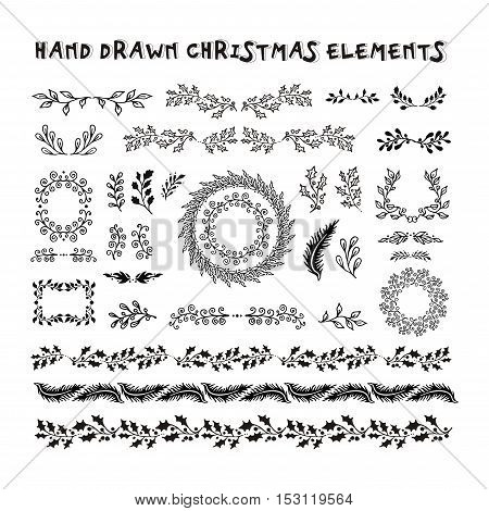 Vector Collection Hand Drawn design elements. Christmas garland border brushes. New year doodle pattern texture