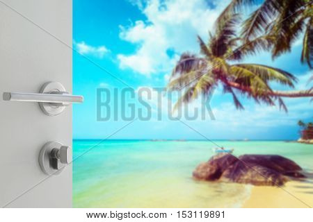Opened White Door To Beautiful Tropical Beach With Coconut Tree