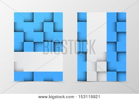 Front and back geometric flyer template design. Abstract template with blue and gray squares in brick style. Vector illustration