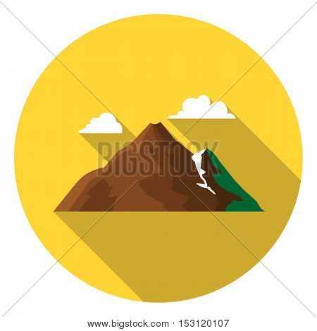 Mountain icon in flat style isolated on white background. Camping symbol vector illustration.