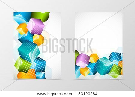 Front and back dynamic geometric flyer template design. Abstract template with colorful 3d squares with halftone effect in digital style. Vector illustration