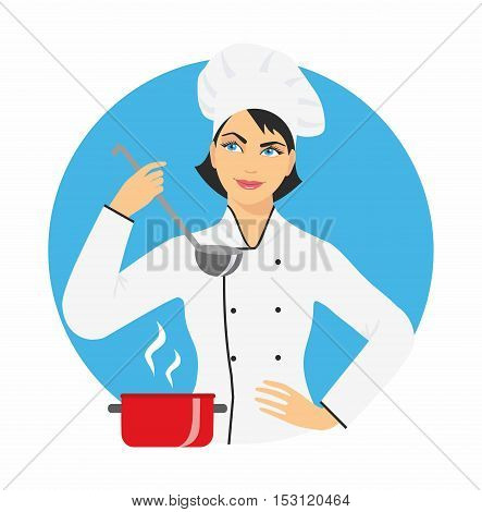 woman chef in cap and uniform with a ladle in his hand. vector illustration, isolated on the blue round background