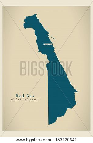 Modern Map - Red Sea EG vector high res