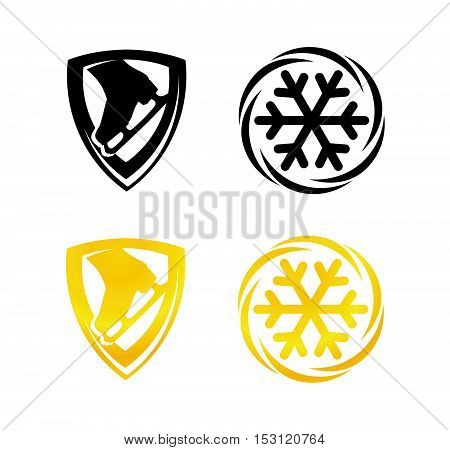 Symbols with Snowflake and Skates for Figure Skating. Set of Emblem in gold and black color design.