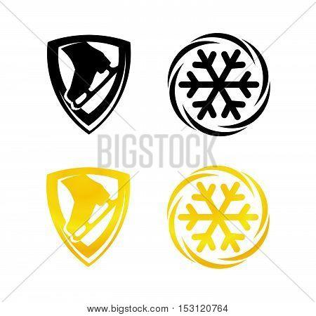 Symbols with Snowflake and Skates for Figure Skating. Set of Emblem in gold and black color design.