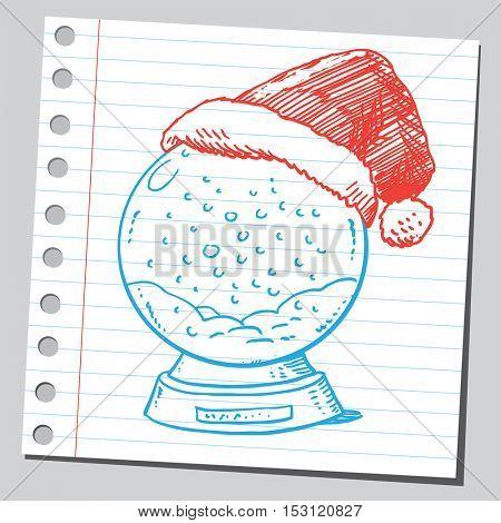 Snow globe with Santa Claus cap