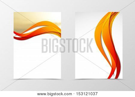 Front and back dynamic wave flyer template design. Abstract template with orange lines, photo and halftone effect in smooth style. Vector illustration