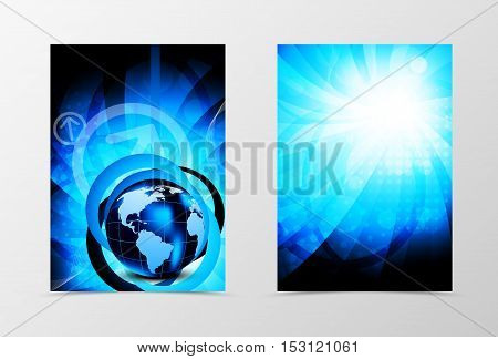 Front and back futuristic technologic flyer template design. Abstract template with bright blue globe in digital vortex shiny style. Vector illustration