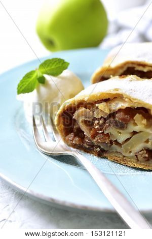 Apple Strudel With Raisins And Walnuts.